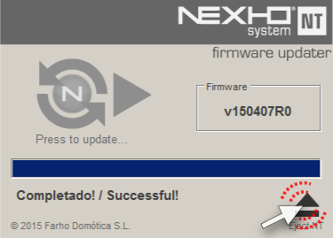 Firmware Updater screen Finished